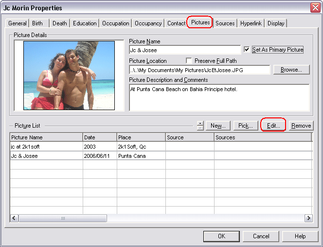 Picutre Dialog - Add and Edit information