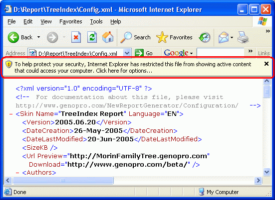 File from showing active content that could access your computer