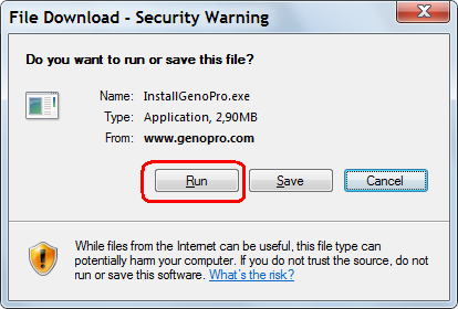 GenoPro File Download - Security Warning